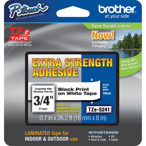 Brother TZES241 Tape with Extra-Strength Adhesive for P-Touch Labelers