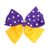 Purple and Gold Ribbon Bow with White Dots