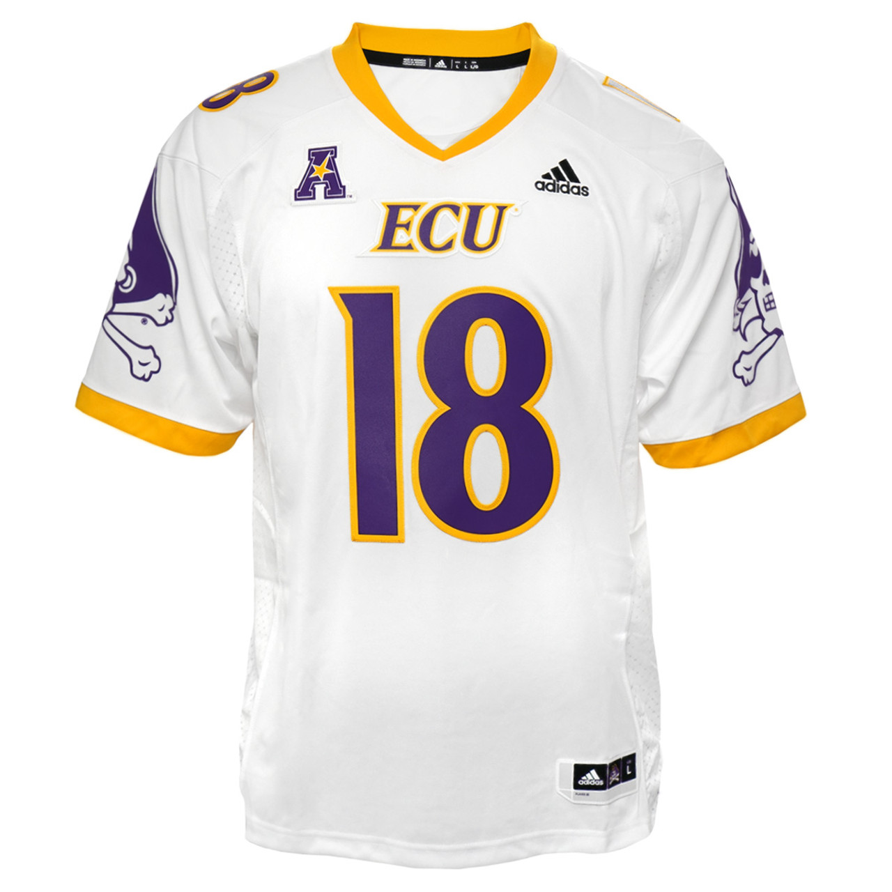 check out c6169 e0fb9 White Authentic #18 ECU Football Jersey