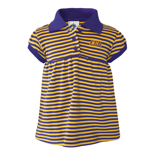 Infant Purple & Gold Stripe ECU Polo Dress