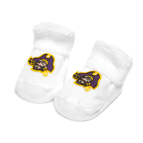 White Pirate Head Baby Booties