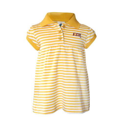 Infant Gold & White ECU Polo Dress