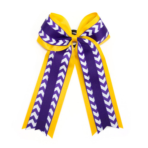 Purple, Gold & White ECU Chevron Hair Bow