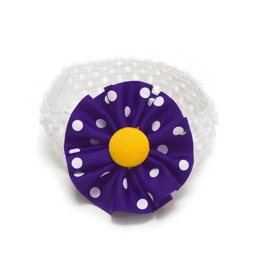 Purple & White Polka Dot Infant Headband