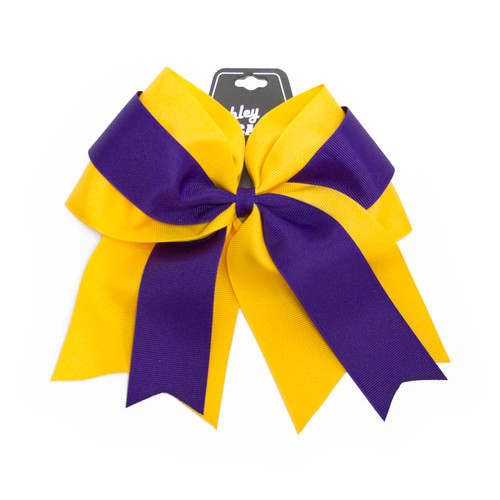 Purple & Gold Forked Tongue Ribbon Bow