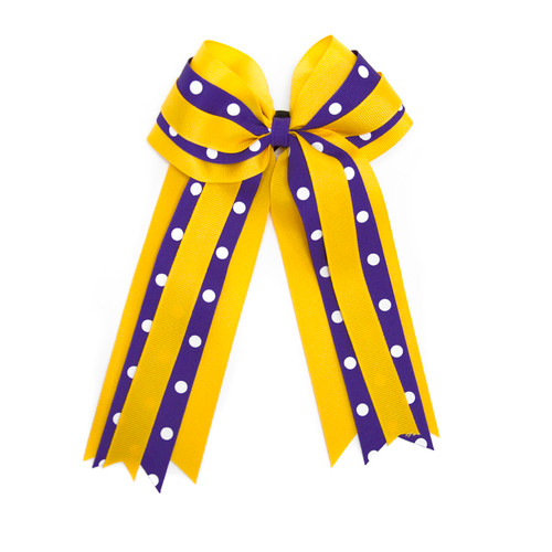 Purple & Gold Polka Dot Ribbon Bow