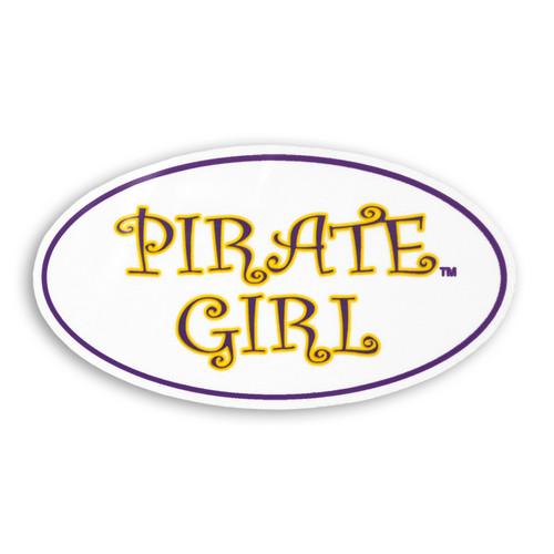 White Oval Pirate Girl Sticker