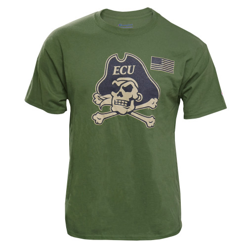 Army Green Jolly Roger & US Flag Tee