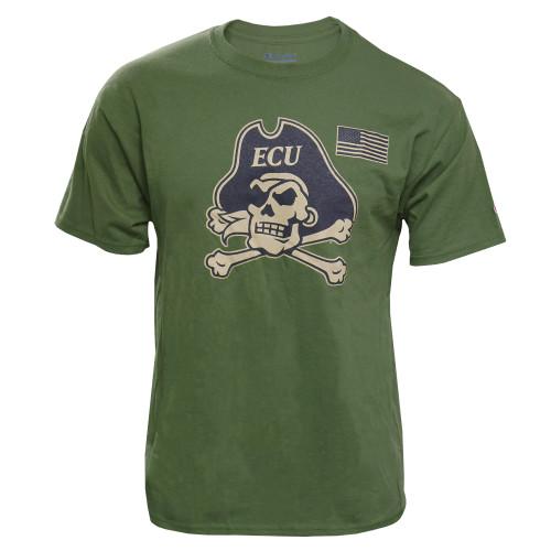 Army Green Jolly Roger & US Flag Tee