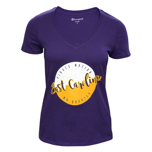 Ladies Purple East Carolina V-Neck Circle Tee