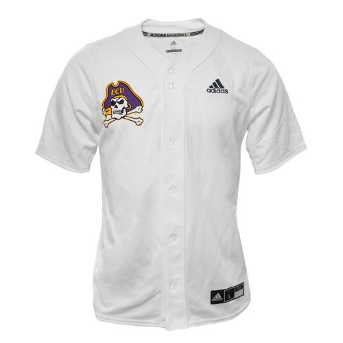 White ECU #19 Button Down Baseball Jersey