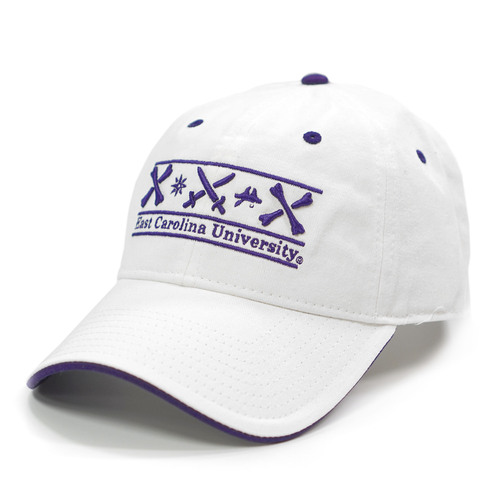 White Adjustable ICON Bar Cap with Purple Trim