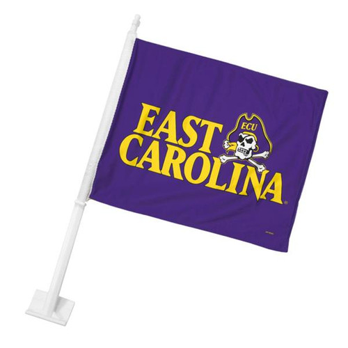 Purple East Carolina & Jolly Roger Car Flag