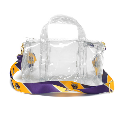 Clear Mini Duffel Purse with Jolly Rogers