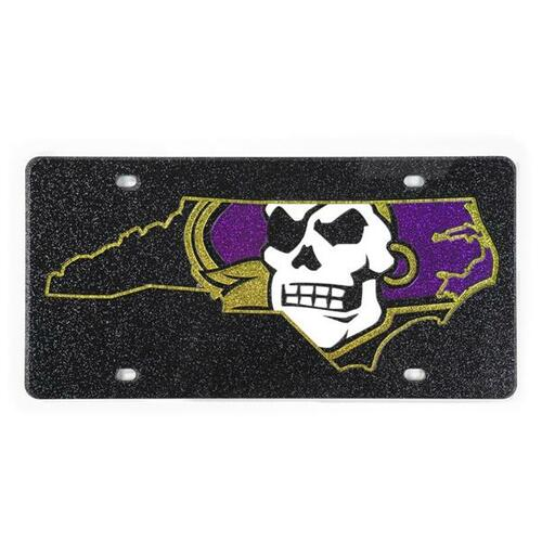Black Glitter Pirate Nation License Plate