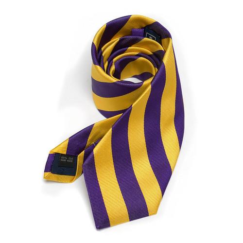 Purple & Gold Textured Stripe Necktie