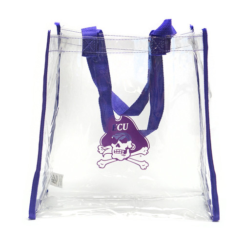 Clear Stadium Tote Purple Trim Jolly Roger