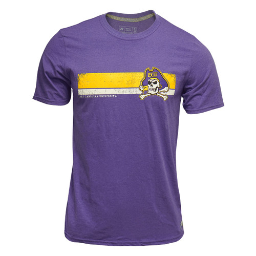 Purple Tee with Yellow & White Stripe Jolly Roger