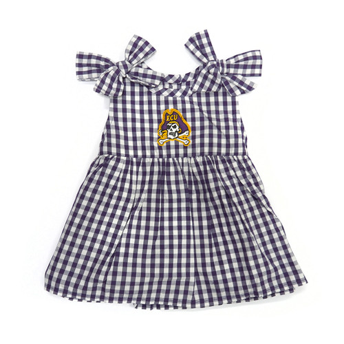 Infant Purple and White Dress with Shoulder Bow Ties