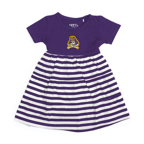 Toddler Purple and White Dress with Stripe Bottom