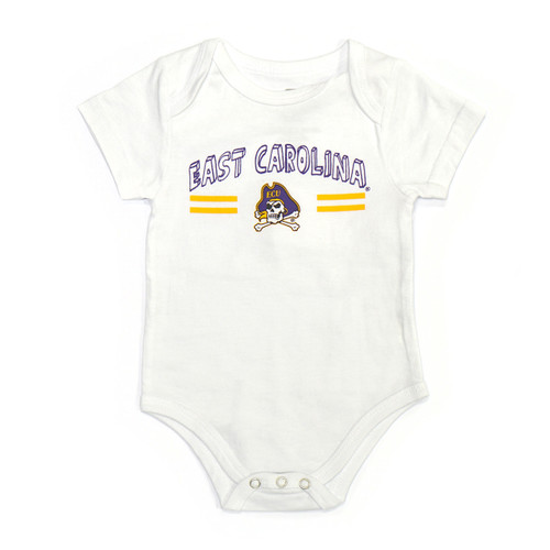 Infant White Onesie with East Carolina Block Letters