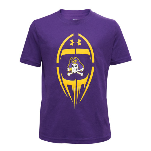 Youth Purple Tee with Vertical Football