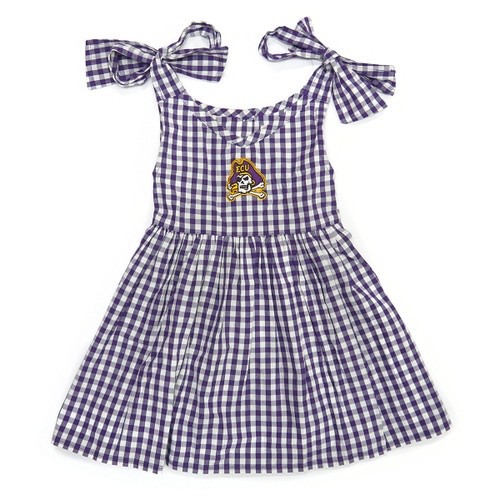 Toddler Purple and White Dress with Shoulder Bow Ties