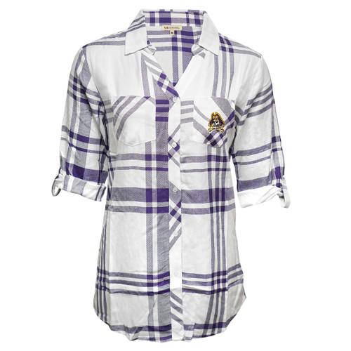 Ladies Purple and White Buttondown Plaid