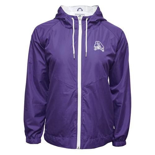 Ladies Purple Jolly Roger Rain Jacket With Drop Tail