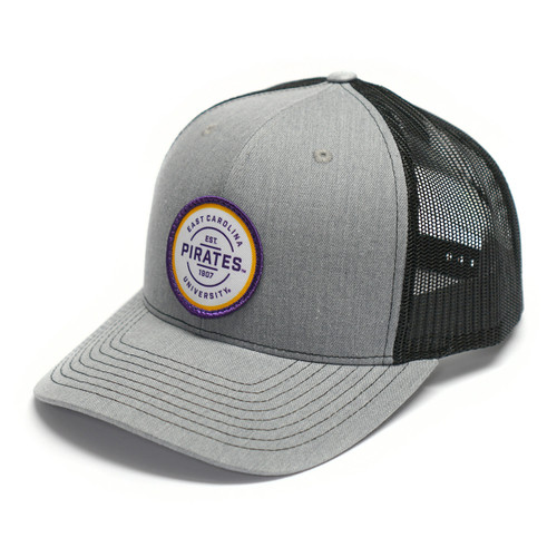 Grey & Black Pirates Patch Trucker Cap