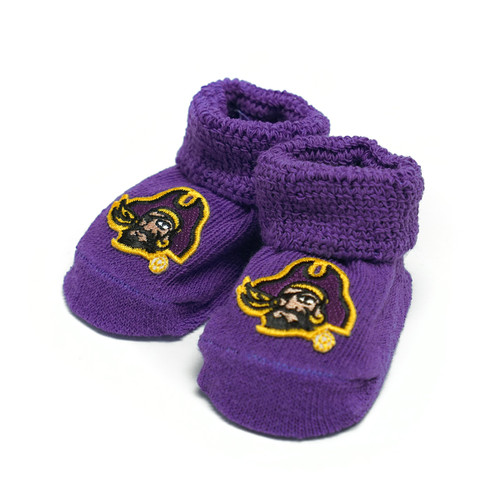 Purple Infant Pirate Head Booties