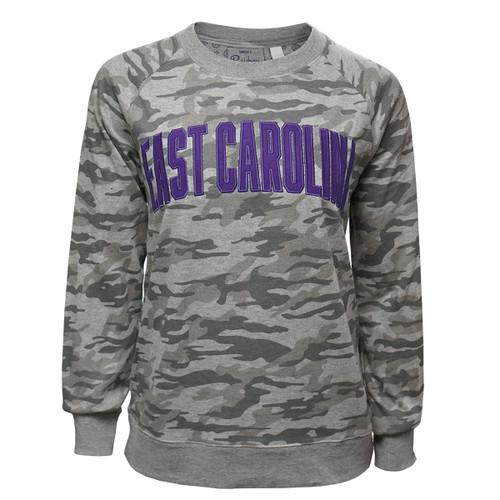 Grey East Carolina Camo Crew