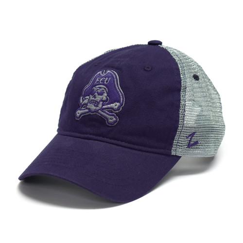 Grey & Purple Jolly Roger Adjustable Trucker Cap