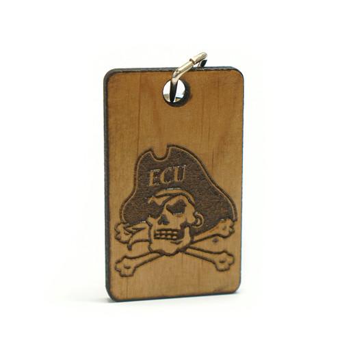 Keychain Jolly Roger Alder Wood Etched