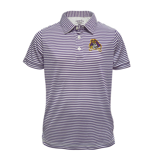 Youth Polo Purple and White Stripes