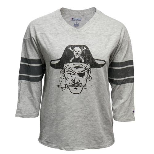 Ladies Grey Striped Long Sleeve Tee Vault Pirate Head with Sabre