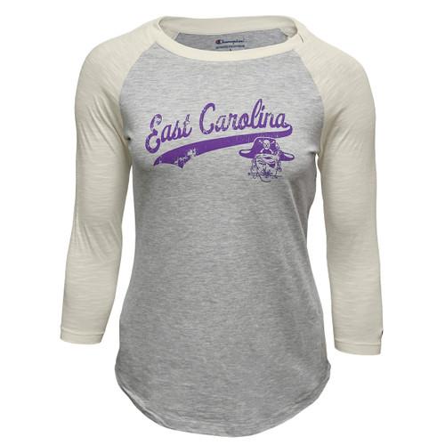 Ladies Grey Baseball 3/4 Sleeve Tee Vault Sabre