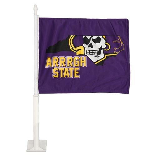 Purple Arrrgh State Pirate State of Mind Car Flag