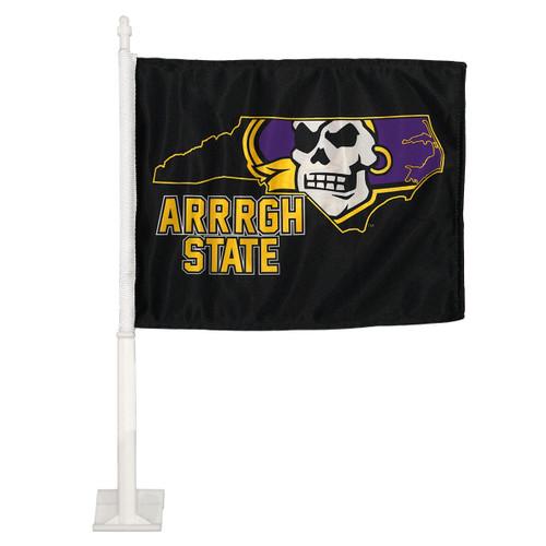 Black Arrrgh State Pirate State of Mind Car Flag