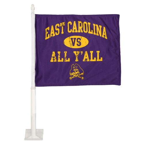 Purple East Carolina vs All Y'all Car Flag