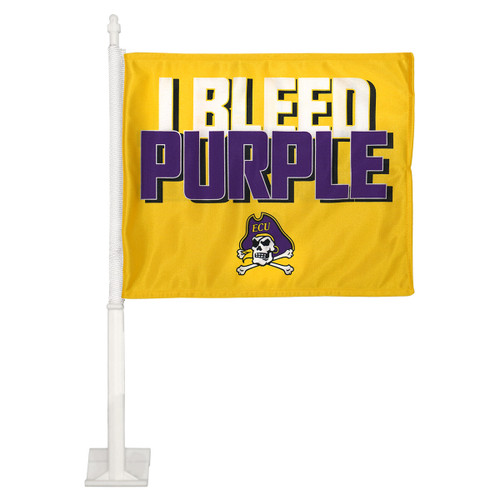 Gold I Bleed Purple Car Flag