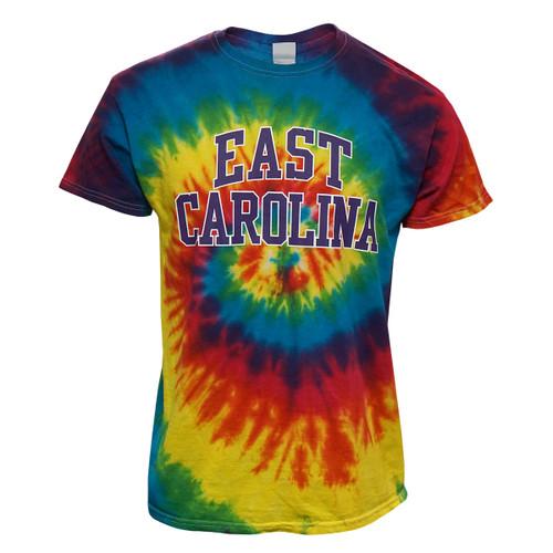 Rainbow Tie Dye East Carolina Arch Tee