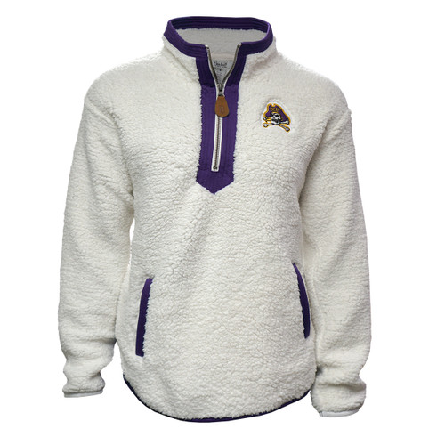 White ECU Sherpa with Purple Quarter Zip Collar