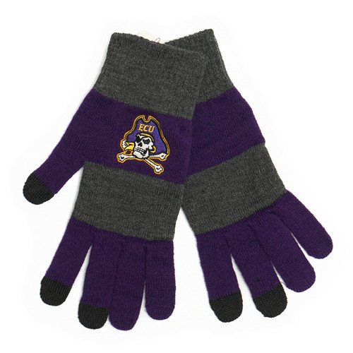 Charcoal and Purple Striped Gloves Smart Touch