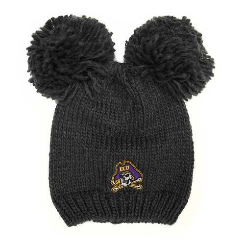 Youth Beanie Charcoal Double Pom Pom