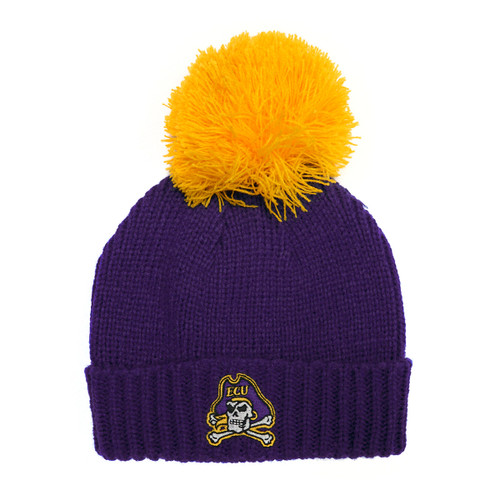 Youth Beanie Purple and Gold Pom