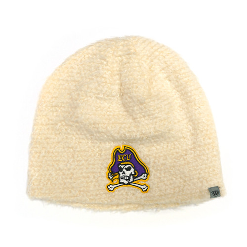 Youth Knit White Fluffy Beanie Jolly Roger