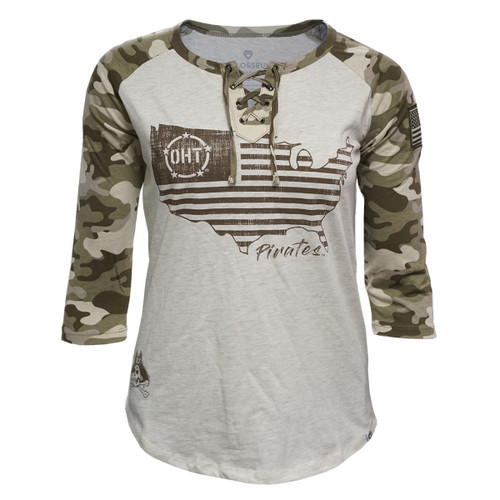 Ladies Camo Tee Lace 3/4 Sleeve Operation Hat Trick