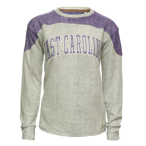 Ladies Grey Soft Terry Crew With Shoulder and Elbows Pads