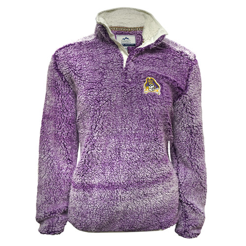 Ladies Purple Sherpa Jolly Roger Button Up